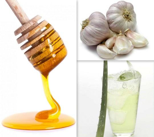 Hair Mask Using Honey, Garlic Juice and Aloe Vera Juice